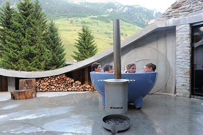 Underground house hot tub