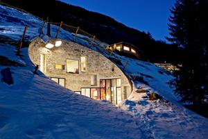 Underground house exterior winter